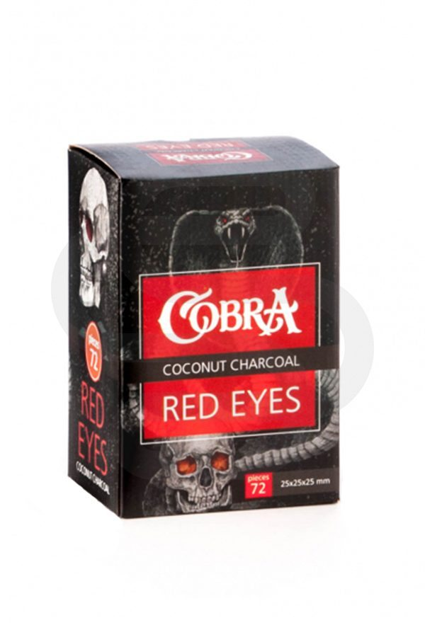 Купить кокосовый уголь для кальяна Cobra Red Eyes 72шт в СПб - магазин кальянов Смогус